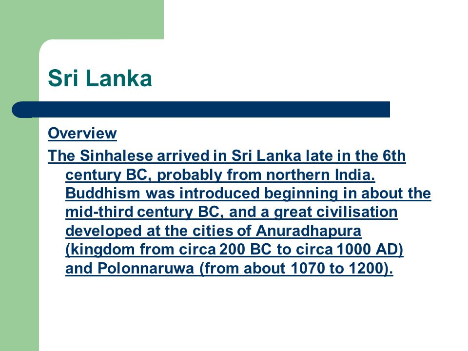 Sri Lanka Overview.