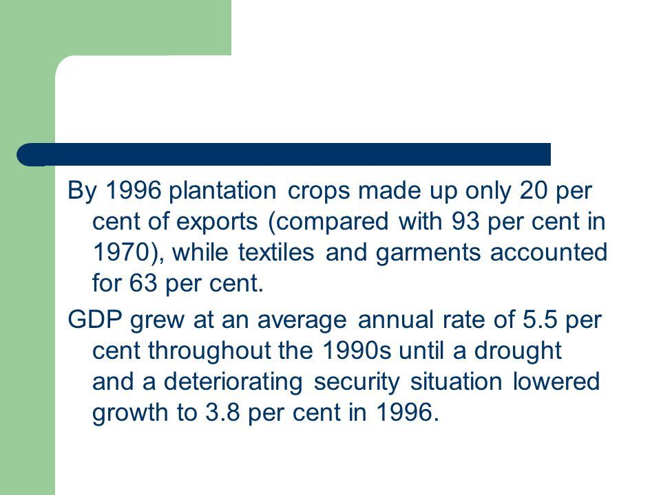 By 1996 plantation crops made up only 20 per cent of exports (compared with 93 per cent in 1970), while textiles and garments accounted for 63 per cent.