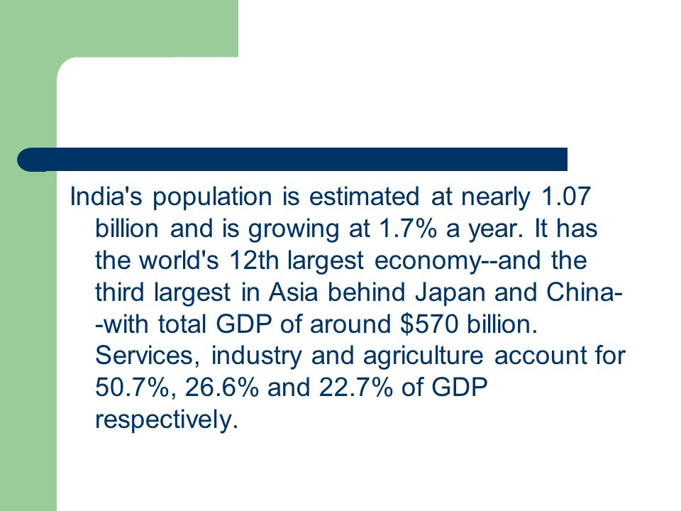 India s population is estimated at nearly 1