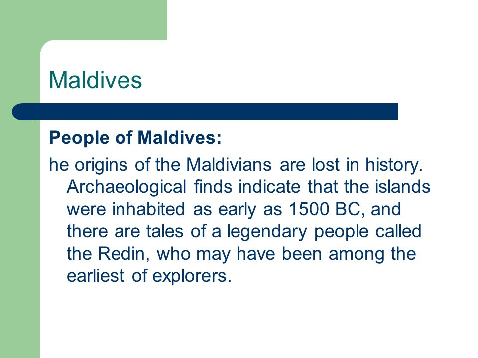 Maldives People of Maldives: