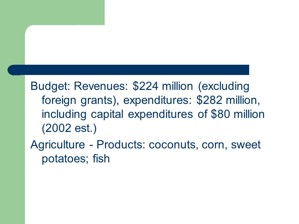 Budget: Revenues: $224 million (excluding foreign grants), expenditures: $282 million, including capital expenditures of $80 million (2002 est.)