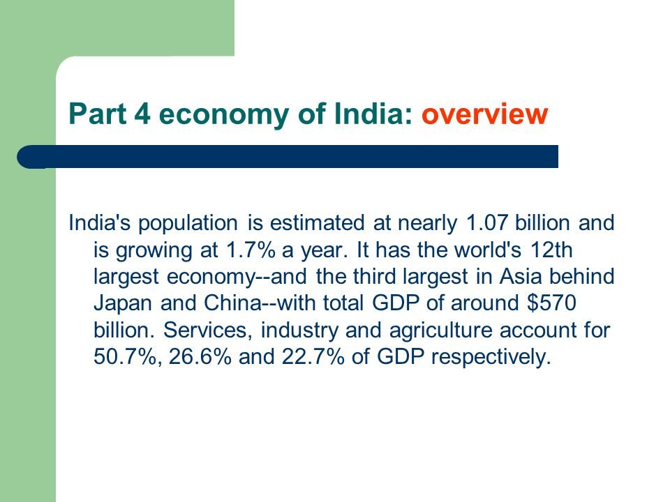 Part 4 economy of India: overview