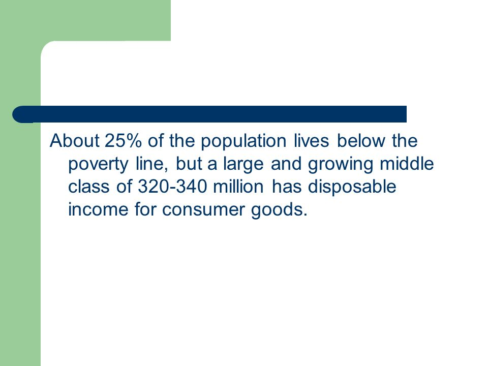About 25% of the population lives below the poverty line, but a large and growing middle class of 320-340 million has disposable income for consumer goods.