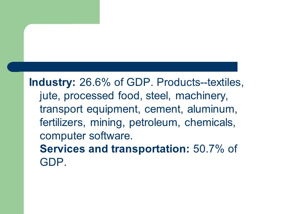 Industry: 26.6% of GDP.