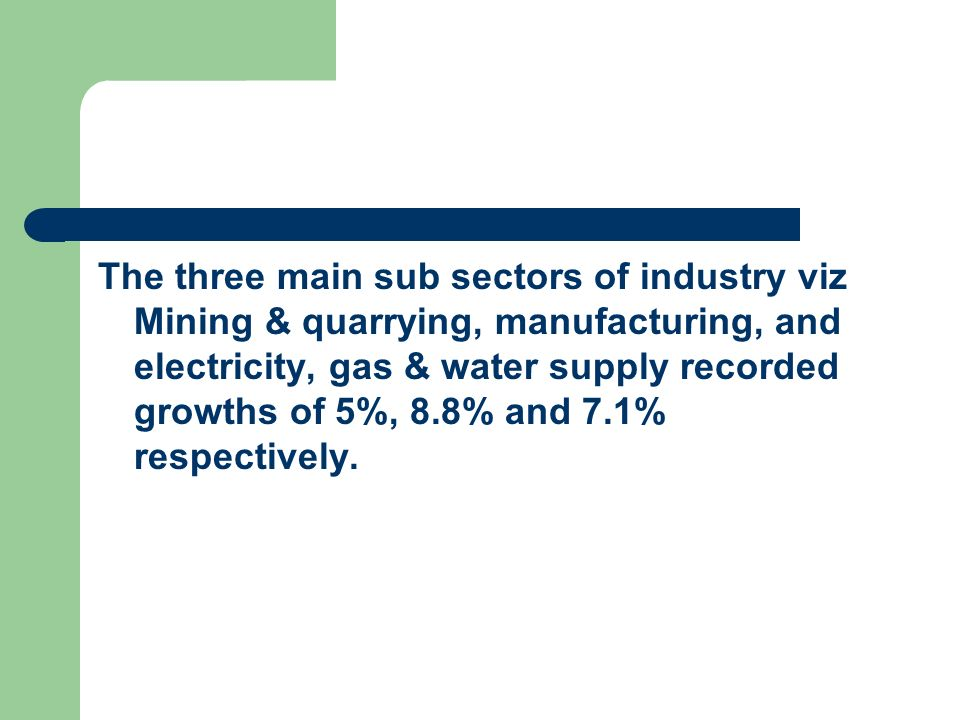 The three main sub sectors of industry viz Mining & quarrying, manufacturing, and electricity, gas & water supply recorded growths of 5%, 8.8% and 7.1% respectively.