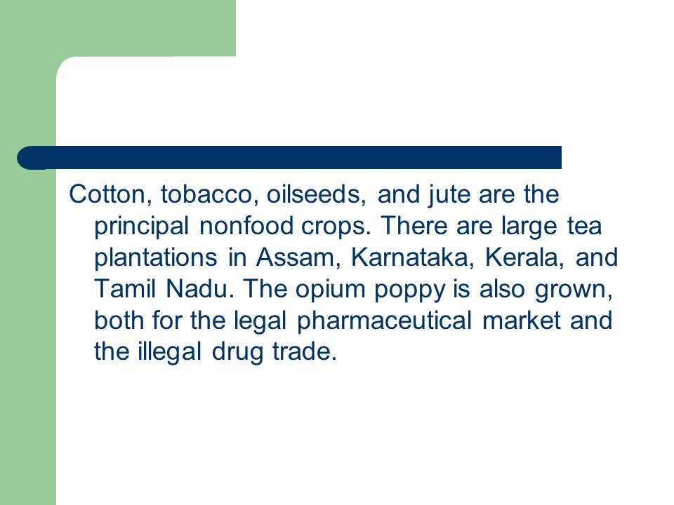 Cotton, tobacco, oilseeds, and jute are the principal nonfood crops