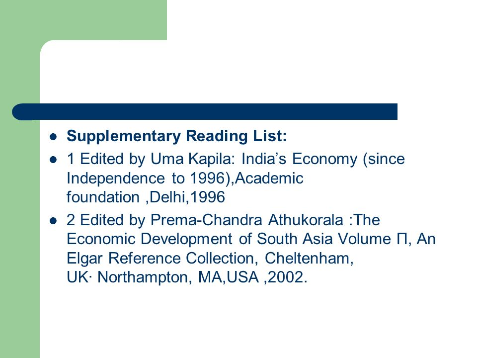 Supplementary Reading List: