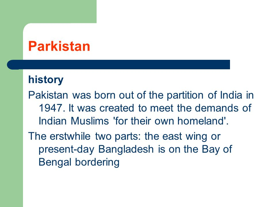 Parkistan history.