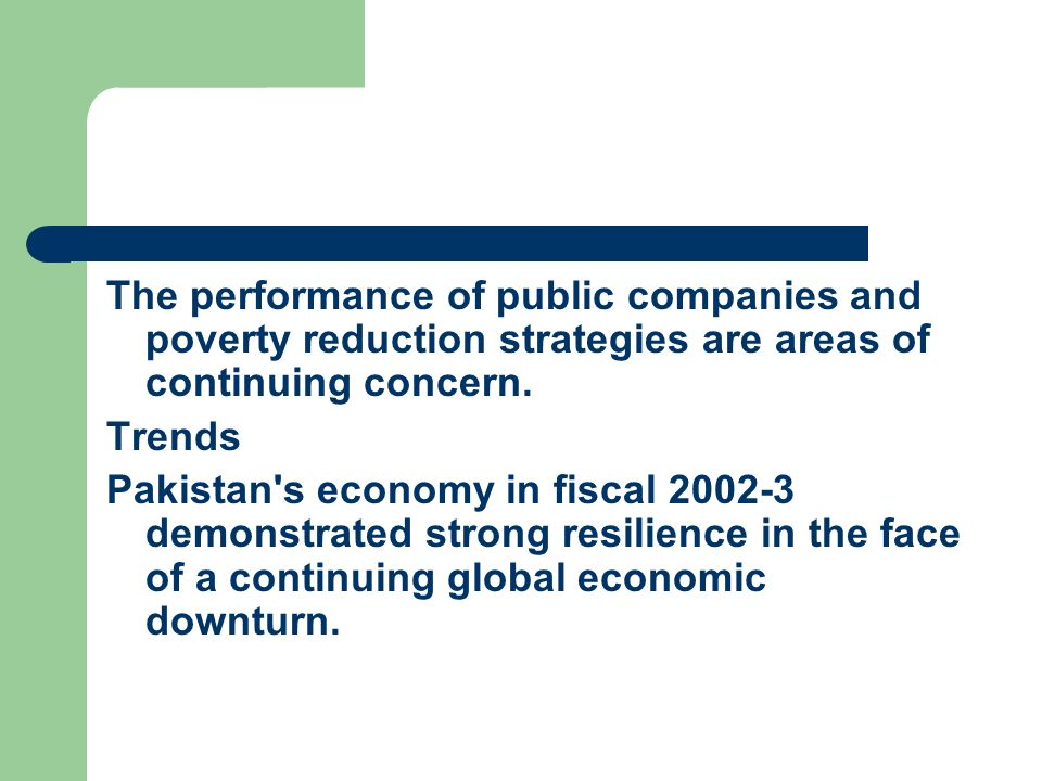 The performance of public companies and poverty reduction strategies are areas of continuing concern.