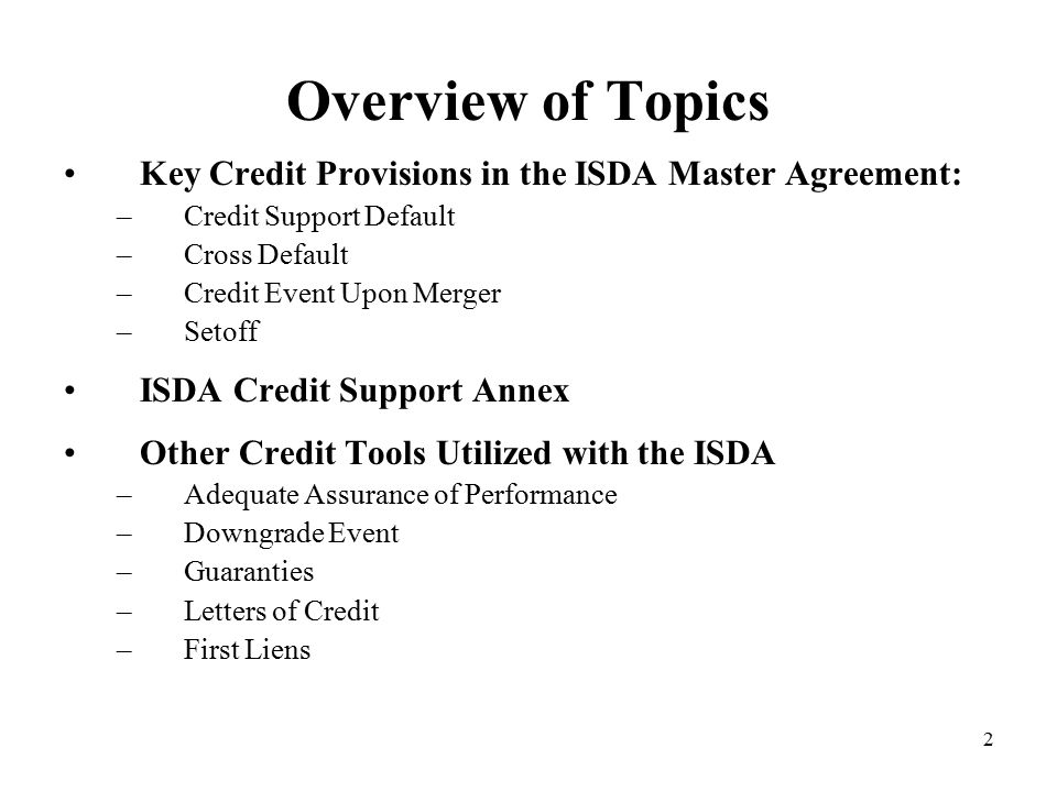 ISDA Credit Protections: Tools to Mitigate Your Company's Risks - ppt download