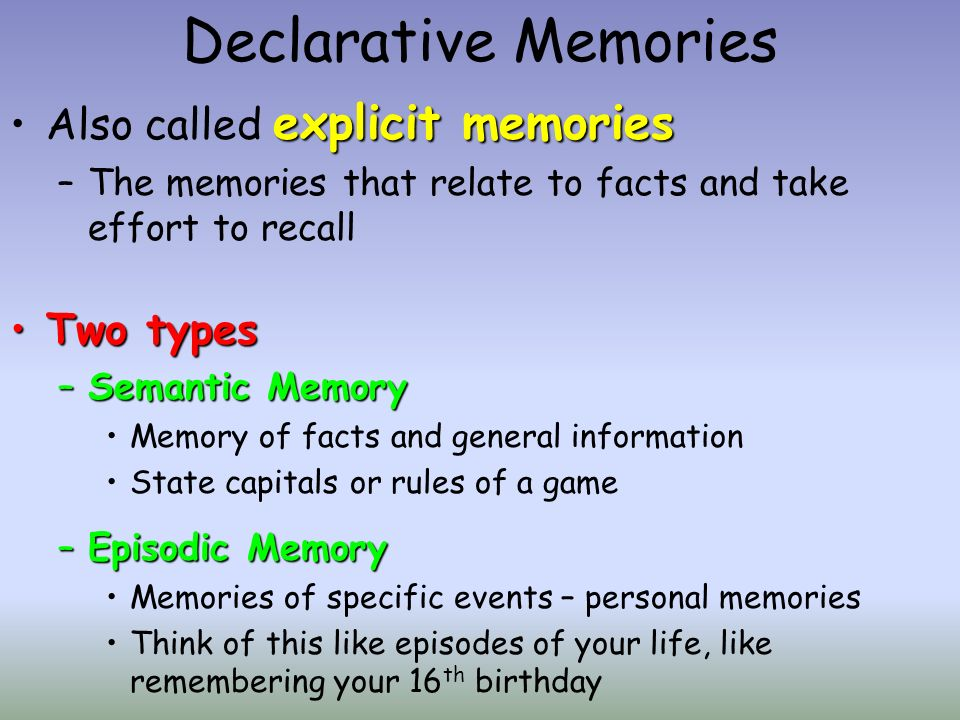 implicit memory which is also known as non declarative memory Also known as non-declarative memory iconic memory a momentary sensory memory of visual stimuli a photographic or picture-image memory lasting no more than a few tenths of a second.