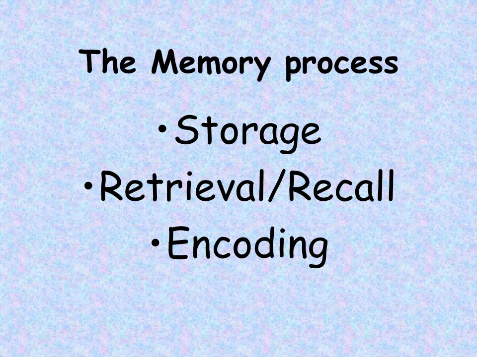 the process of encoding storing and retrieving information from our memory Memories must be reconstructed through encoding  writes over the ignored information our sensory memory  the process of forgetting in memory storage.