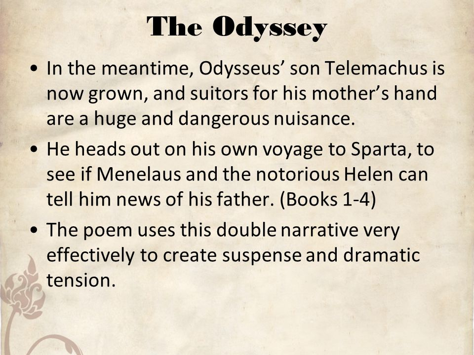 the honest telemachus and the truth about his father odysseus Beginning of the dialogue: setting up the third cretan lie  with odysseus and telemachus removing weapons from the hall  for his father, odysseus recalls the.
