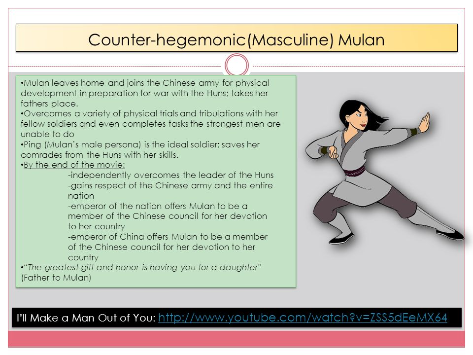 media influencing youth ppt  counter hegemonic masculine mulan