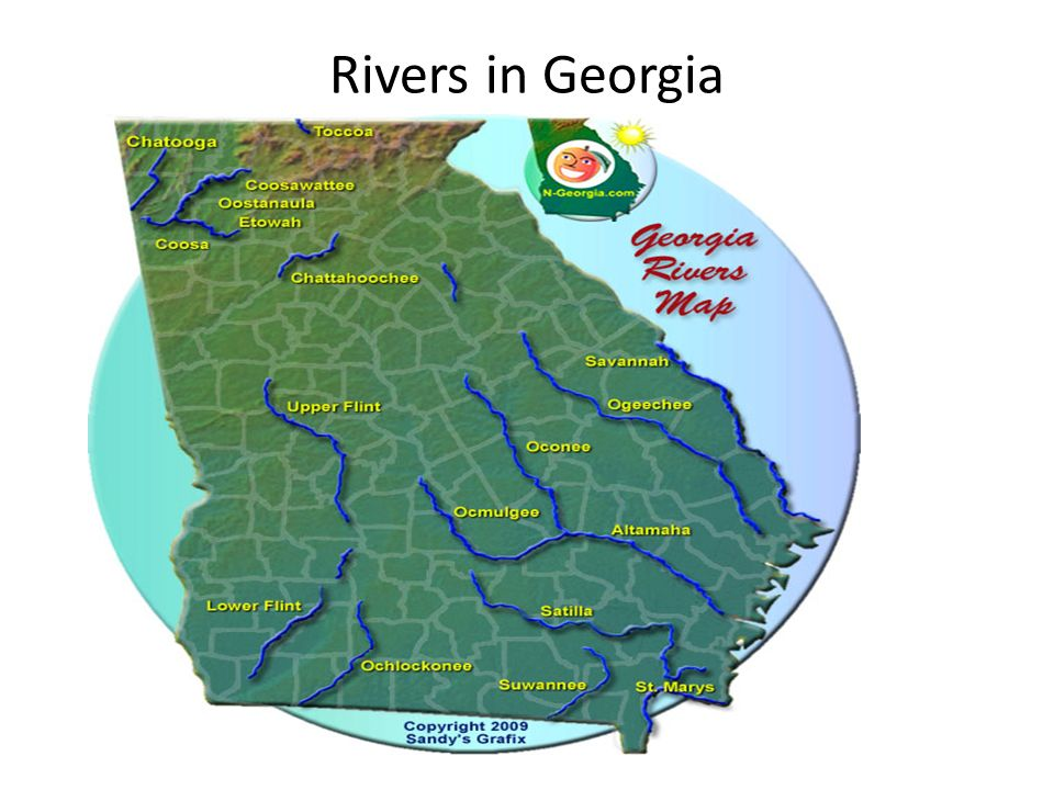 Georgias Water Features Ppt Download - Rivers of georgia map