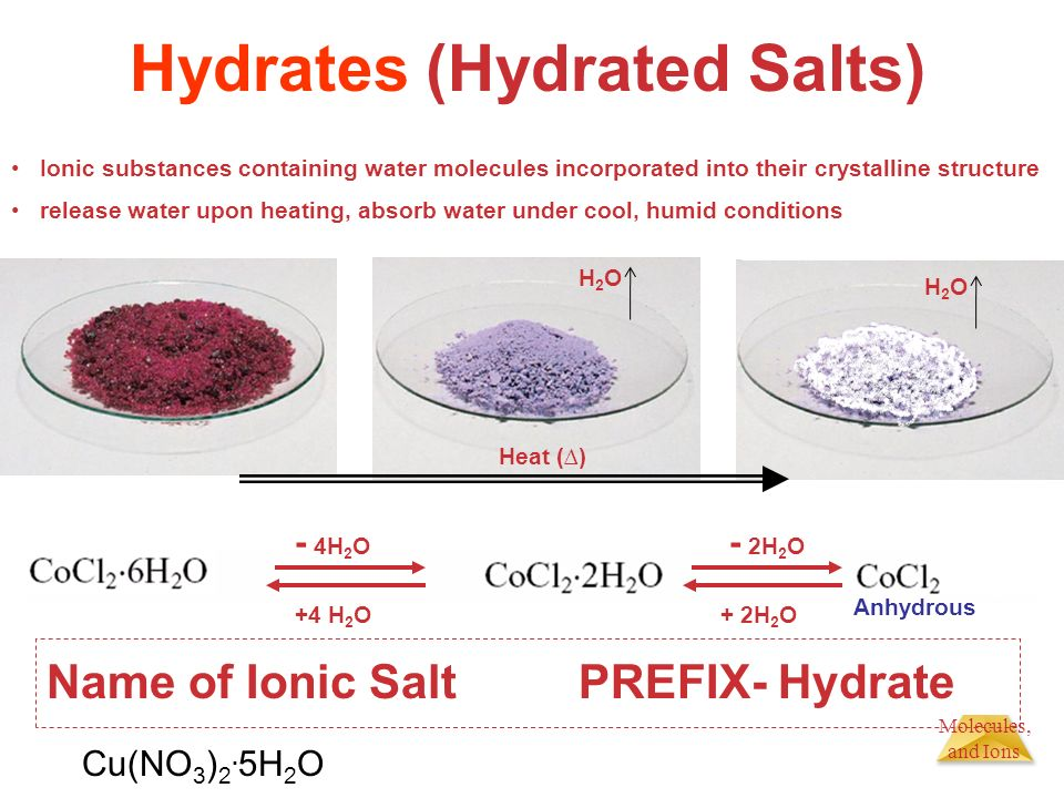 experiemtn 5 hydrate salt To establish for formula of a hydrated salt principles: many salts occurring in nature or purchased from chemical suppliers are hydrated that is, a number of water molecules are bound to the ions in the crystalline structure of the salt.