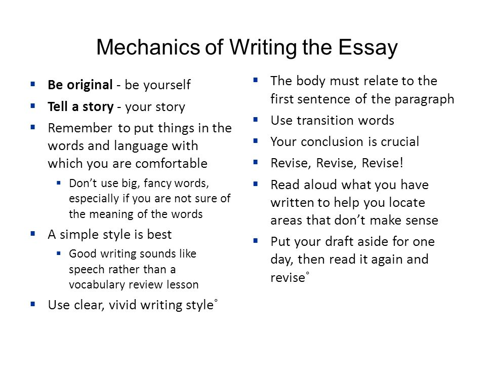 Mechanics of thesis writing