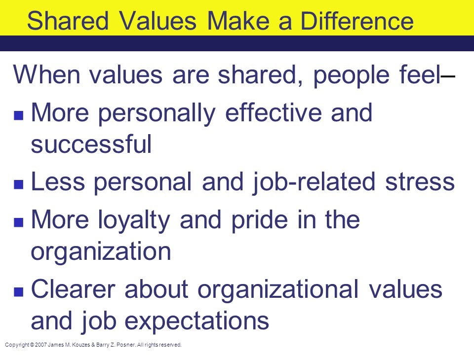 School of Business - Values and Expectations