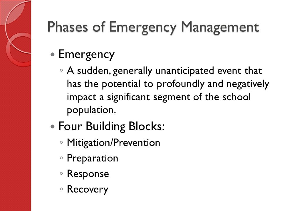 four phases of emergency management The four phases of emergency management the department's logo describes the four phases of emergency management and its ongoing process preparedness is conducted before a disaster occurs in order to build emergency management capacity.