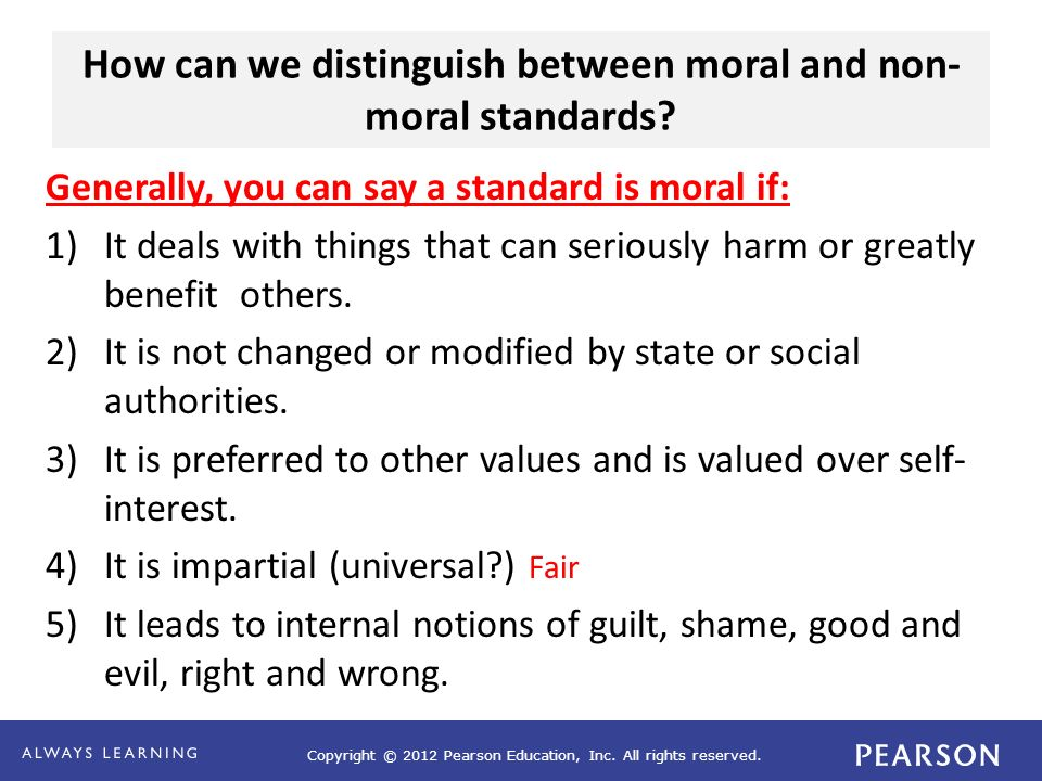 How can we distinguish between moral and non-moral standards