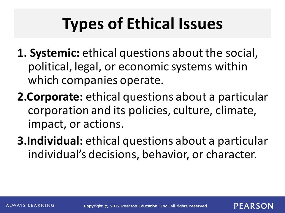 Types of Ethical Issues