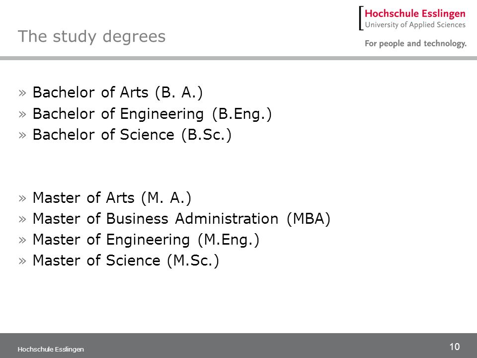 The study degrees Bachelor of Arts (B. A.)