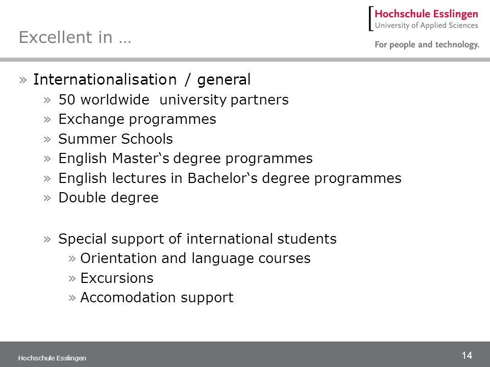 Excellent in … Internationalisation / general
