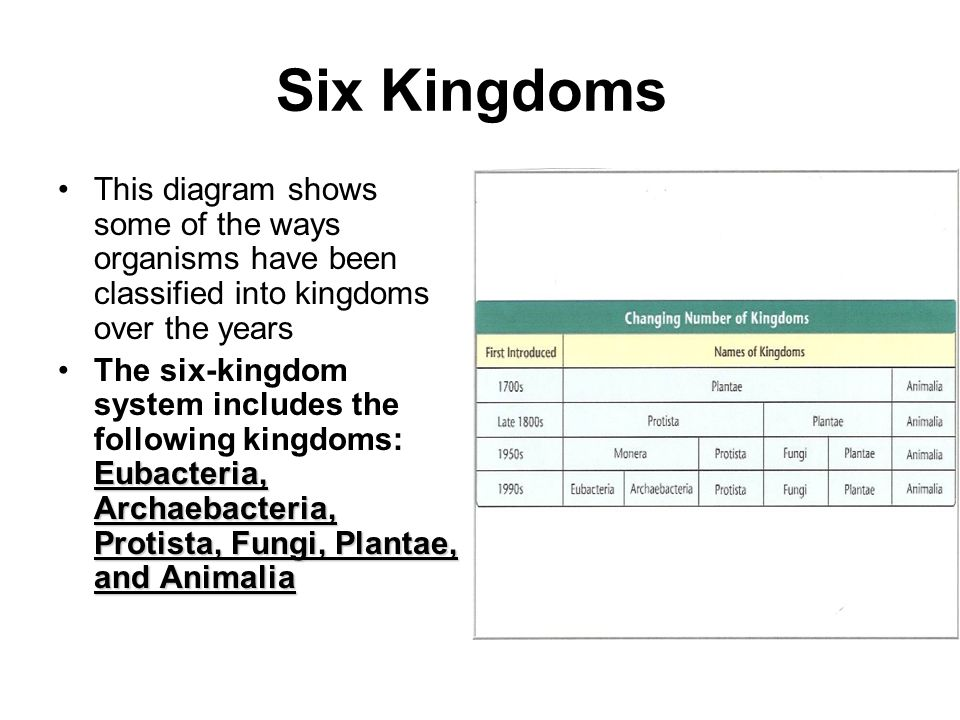 Six Kingdoms This diagram shows some of the ways organisms have been classified into kingdoms over the years.