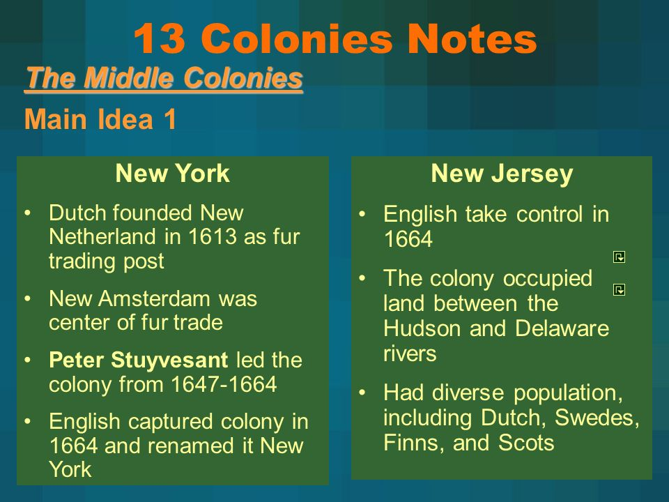The Middle Colonies Main Idea 1