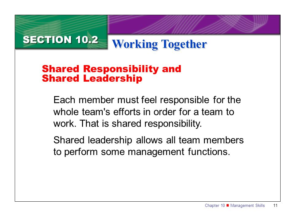 Working Together SECTION 10.2