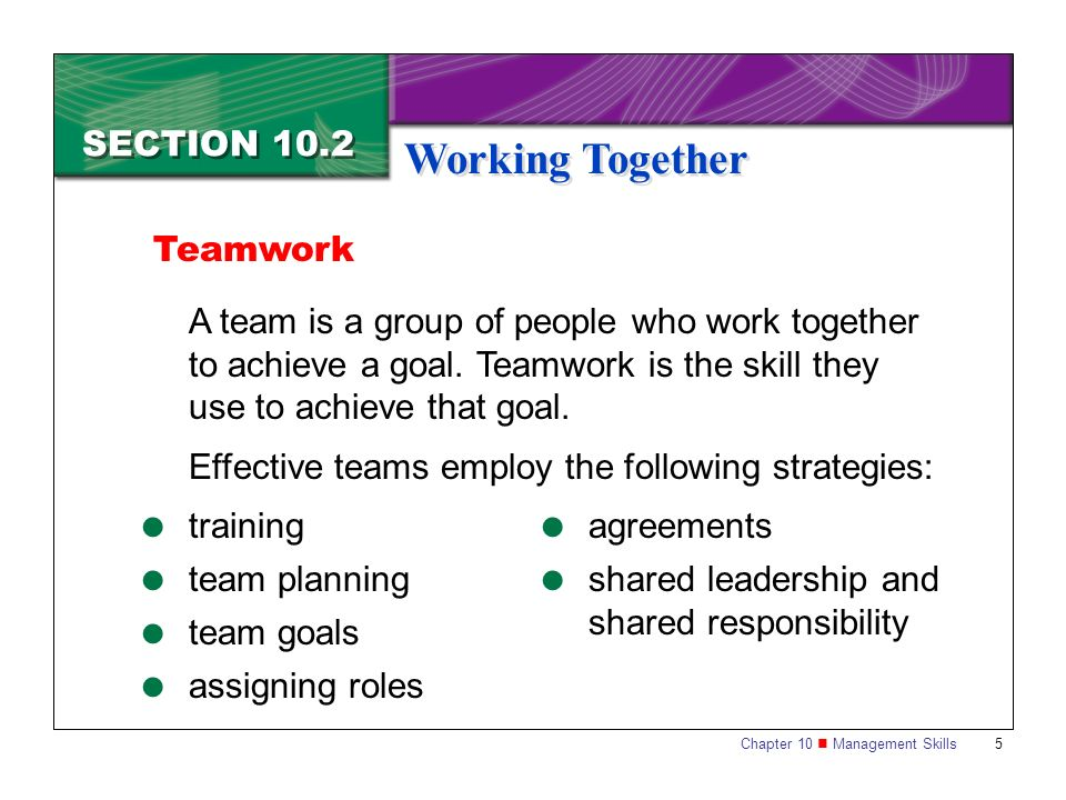 Working Together SECTION 10.2 Teamwork