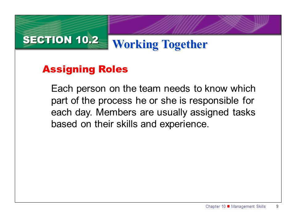 Working Together SECTION 10.2 Assigning Roles