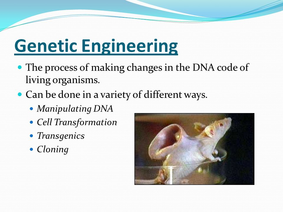 Genetic Engineering The process of making changes in the DNA code of living organisms. Can be done in a variety of different ways.