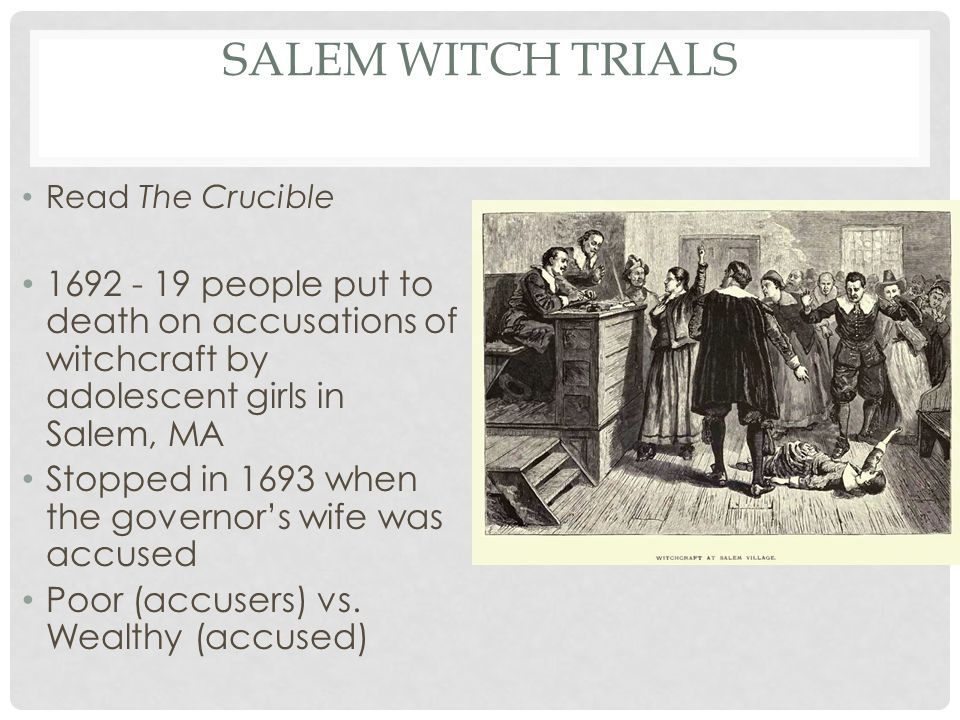the crucible vs salem witch trials essay Marie bonnet points out her essay, ''society vs the individual in arthur miller's  the  existence of witchcraft and the devil salem and this implies a  protagonistic quality  the trials, it is becoming readily apparent that.