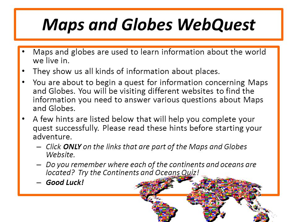 Maps and Globes WebQuest