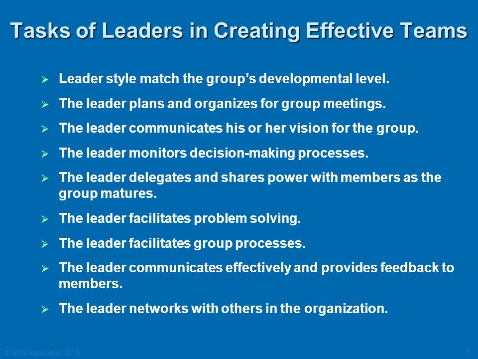 Tasks of Leaders in Creating Effective Teams