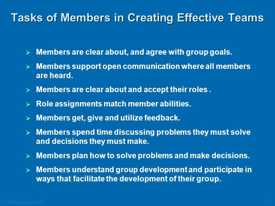 Tasks of Members in Creating Effective Teams