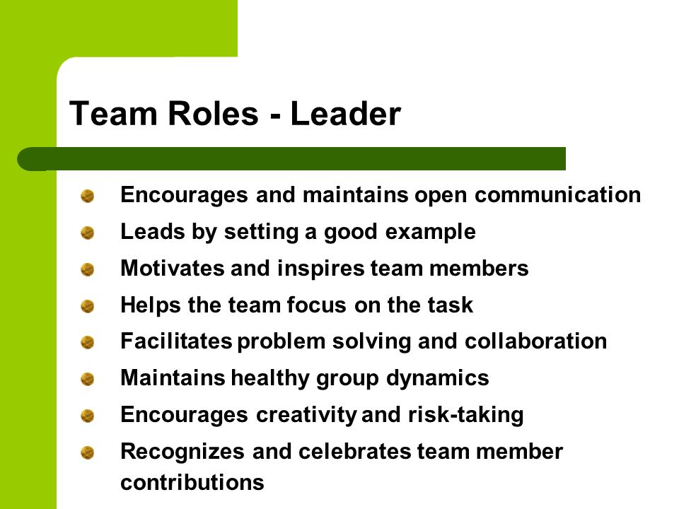 Team Roles - Leader Encourages and maintains open communication
