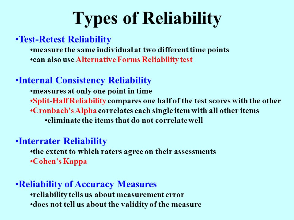 test retest with equivalent forms method of reliability