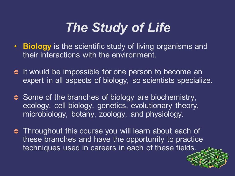 """a study of life and living things Defining a living thing is a difficult proposition, as is defining """"life""""—that property  possessed  ecology is the study of relationships between organisms and their."""