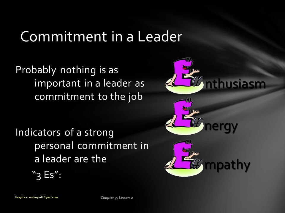Commitment in a Leader nthusiasm nergy mpathy