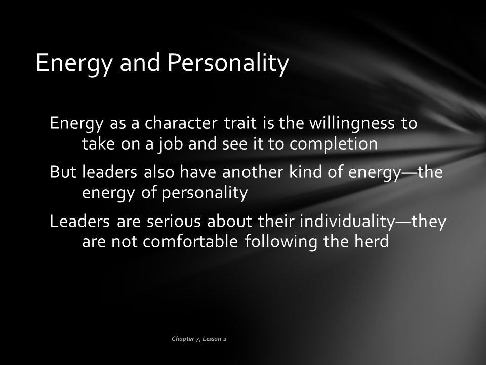 Energy and Personality
