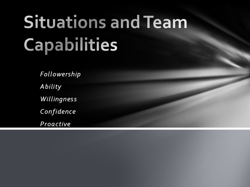 Situations and Team Capabilities