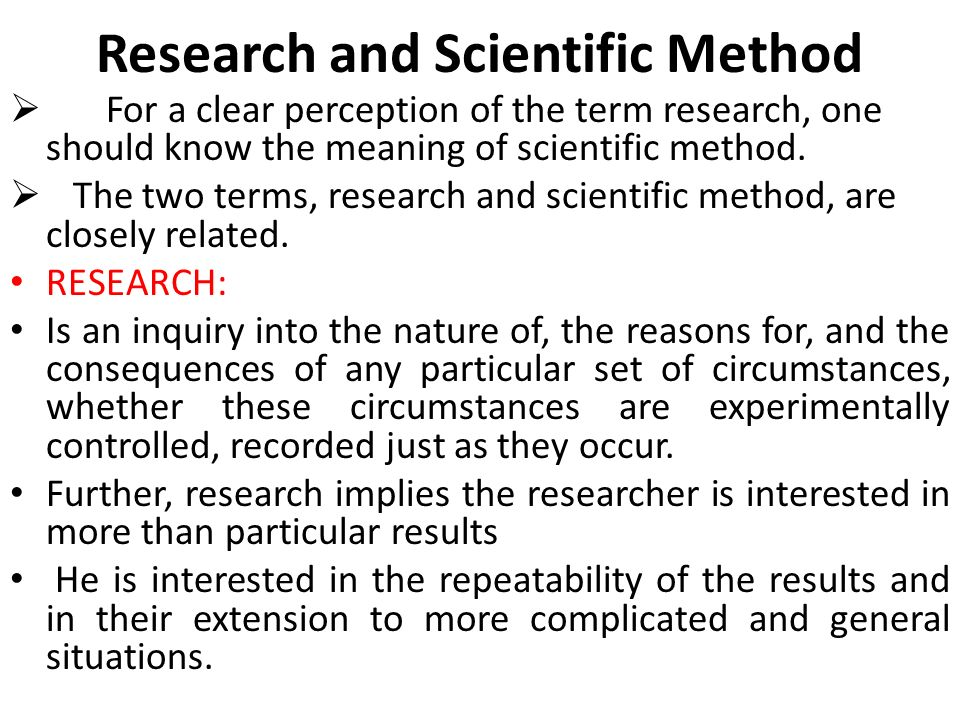 Research and Scientific Method