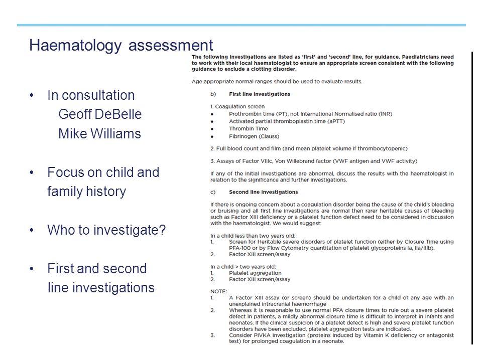 Haematology assessment