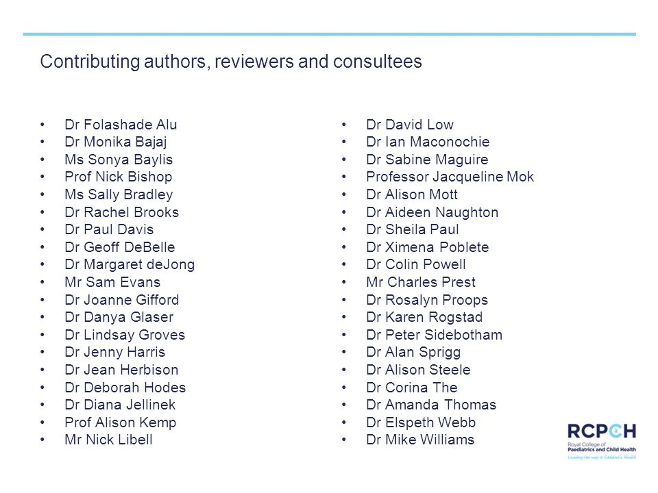 Contributing authors, reviewers and consultees