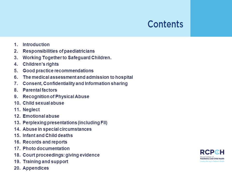 Introduction Responsibilities of paediatricians. Working Together to Safeguard Children. Children's rights.