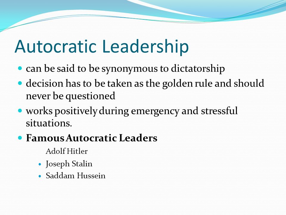 autocratic and bureaucratic Argue that leadership styles can either be democratic, charismatic, autocratic or   research work includes transactional-autocratic, transactional-bureaucratic,.