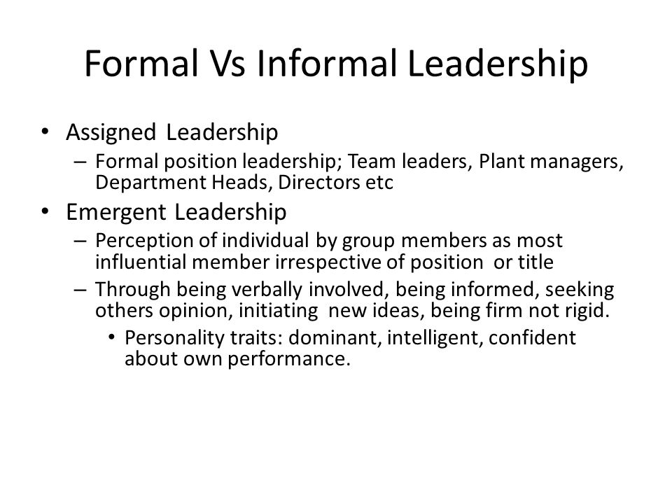 assigned versus emergent leadership The importance of emergent leadership organizations continue to seek ways to meet their goals and build upon their success in order to support this initiative and foster an environment of leadership development, organizations should focus on those individuals who emerge among the group context.