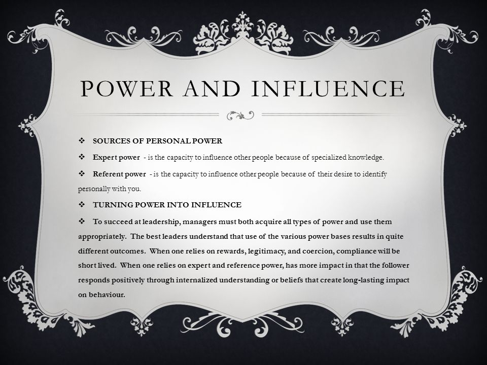 Power and influence in my company